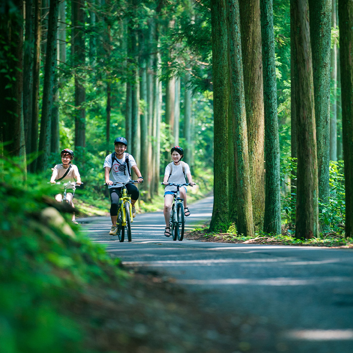 長良川の川のせせらぎを聞きながら郡上の大自然の中を軽快にサイクリング