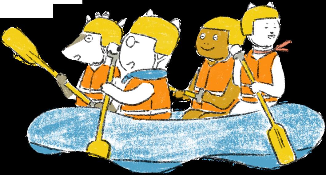 長良川ラフティング ボートを漕ぐねこ編集長たち2